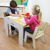 Little Helper FunStation white wooden kids table & chairs set for 2 toddlers aged 24 months upwards with pen/paintbrush pot