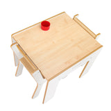 Little Helper FunStation white wooden kids table & 2 chairs set for twice the fun - play with siblings or friends