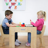 Little Helper FunStation wooden kids table & chairs set for 2 toddlers aged 24 months upwards with chalkboard desk top