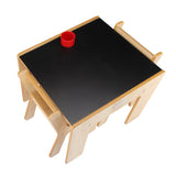 Little Helper FunStation wooden kids table & 2 chairs set with blackboard desk top & pen pot for twice the fun