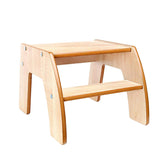 This natural two step wooden step stool from Little Helper is finished to a high standard and is robust and durable