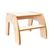 This maple and white two step wooden step stool from Little Helper is finished to a high standard and is robust and durable