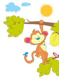 Colourful & cute safari monkey design available in a range of different sizes, printed onto thick matt paper