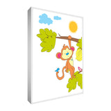 "Colourful & cute safari monkey design printed onto different portrait sized canvases with solid front at 1.5"" thick"