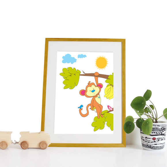40 x 30cm natural wooden frame with strut with a white mount featuring a colourful monkey print for bedrooms or playrooms