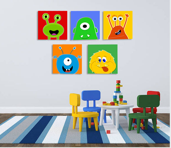 PLAYROOM WALL ART | NURSERY PICTURES | CANVAS PRINTS - MONSTERS