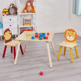 Jungle square table and 2 chairs is an easy-to-assemble set that is perfect for children ages 3+. Supplied flat packed.