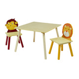 Sturdy & colourful table & 2 chairs set. Friendly Lion and Monkey characters adorn the chair backs.