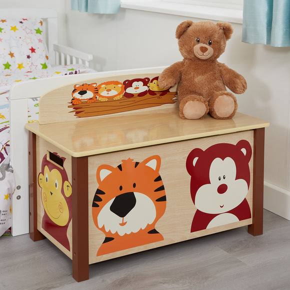 Wooden Toy Box | Jungle Animal Theme |<span style=