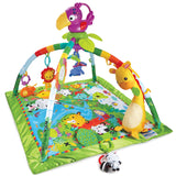 The  baby play mat  comes  to  life  with  music,  lights  and  nature  sounds  that  respond  to  baby's  movement.