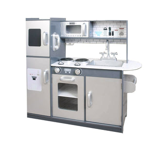 Little Helper's Deluxe Montessori Wooden Toy Kitchen with lots of Realistic Features in a Satin Grey & Silver Finish