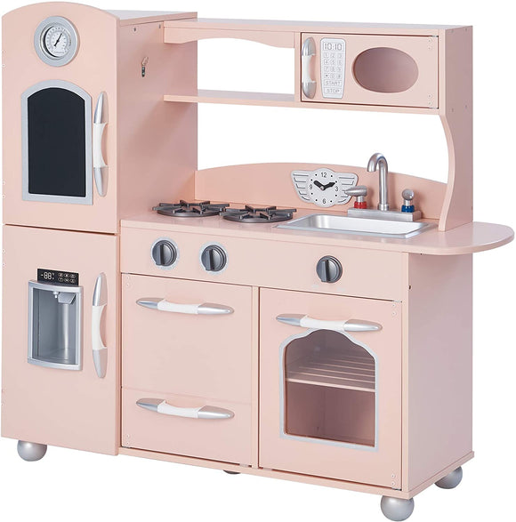 Role play with our pink toy kitchen complete with oven, microwave, washing machine and sink and more realistic features