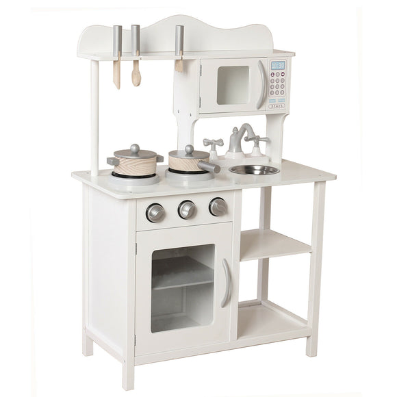 Montessori Wooden Toy Kitchen with Utensils and Realistic Features in White & Grey