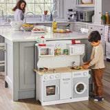 Our Montessori white and natural toy kitchen is made from sturdy wood, with lots of fun things to keep children entertained