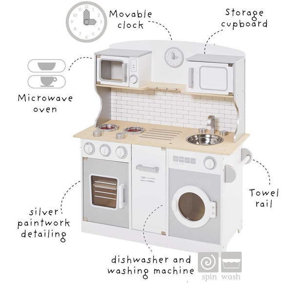 As featured in BBC Good Food's Best Toy Kitchens, this lovely Montessori toy kitchen combines a huge number of features