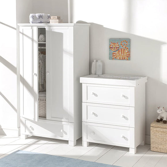 The 'Savannah' Wardrobe has a classic shape and a clean white finish.
