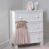 The Savannah Dresser has a classic shape and a clean white finish.