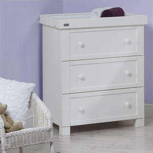 The top on this chest of drawers with changing unit is removable making it practical and long-lasting.