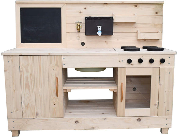 Large mud kitchen including cupboards, oven, working taps, large splash tub, blackboard, cupboards and hob