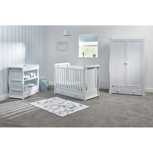 This Set includes a White Nebraska Cot2Bed, a White Nebraska Dresser and a White Nebraska Wardrobe.