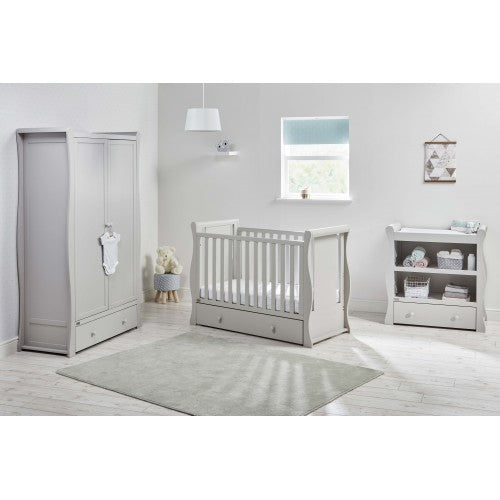 Included in this set is the Grey Nebraska Wardrobe, the Grey Nebraska Cot Bed and the Grey Nebraska Dresser.