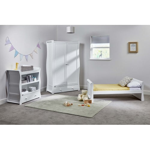 This set includes, White Nebraska Toddler Bed, White Nebraska Wardrobe and a White Nebraska Dresser.