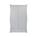 The Grey Nebraska Wardrobe is a part of Nebraska vintage-style furniture collection made of sustainably-sourced wood.