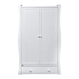 The unique shape on this Nebraska Wardrobe with a curved line ends in the front panel provides it with a vintage look with a touch of modern style.