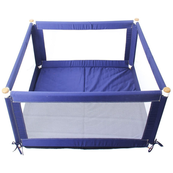 This Blue Baby Playpen includes mesh sides and a thick cushioned floor, keeping your child safe, comfortable and unharmed.