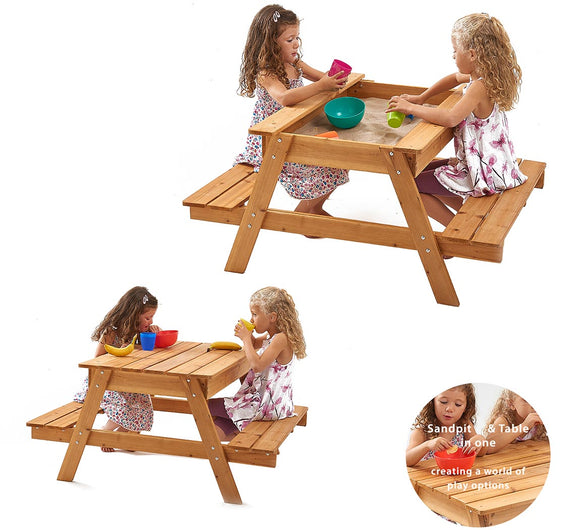 Kids Heavy duty 3-in-1 Pre-Treated Eco Conscious Wooden Sandpit and Picnic Bench with Cover | 1 Year+