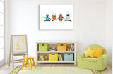 Nursery canvas designs, nursery wall art or nursery wall stickers in Robot theme - different sizes to suit budget and space