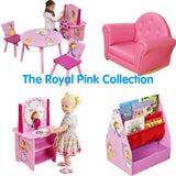 The Royal Pink Collection from Little Helper features a table and chair set, throne, play kitchen and book shelf.