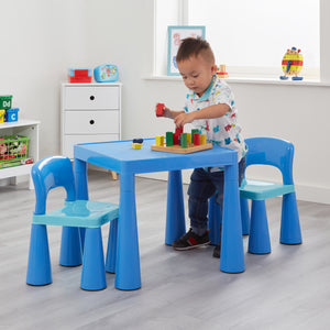 This indoor & outdoor sturdy plastic table and 2 chair set is lightweight and is perfect for arts and crafts or to snack at.