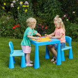 The solid plastic creates a sturdy table and chair whilst the blues are a perfect bright colour for your little ones.