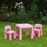 A lightweight design means the table and chairs are easily moved into the garden and the flat pack allows a simple assembly.