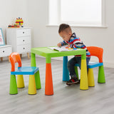 The solid plastic creates a sturdy table and chair whilst the blues are a perfect bright colour