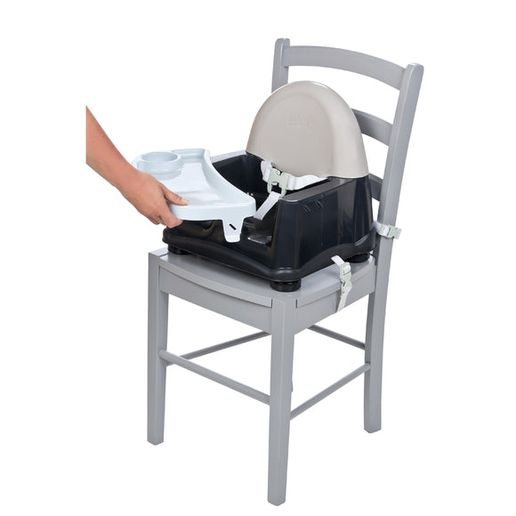 Our Easy Care Swing Tray Booster Seat is an easy-to-use and comfortable feeding booster for your little diner.