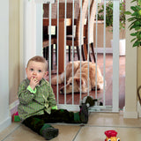 This wide baby gate that opens in both directions is convenient to use while a double locking mechanism adds to security