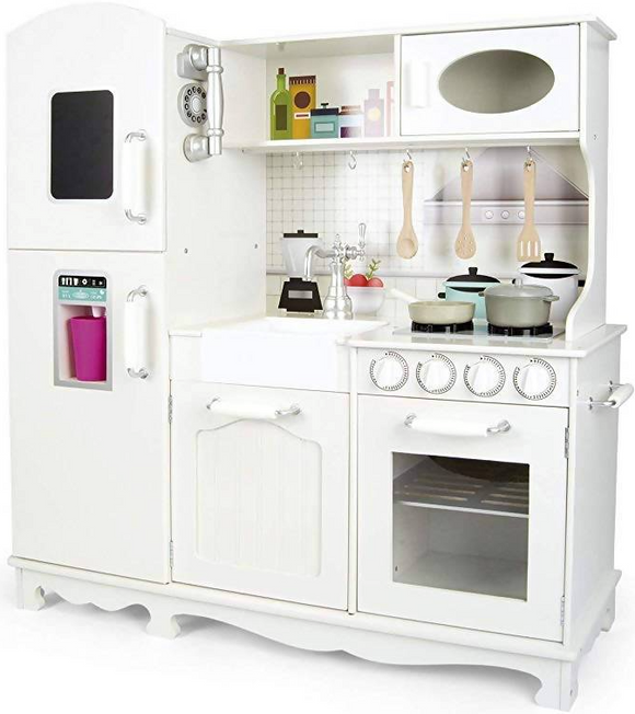 This large Deluxe Montessori Toy Kitchen is perfect for young boys and girls who love role play toys.