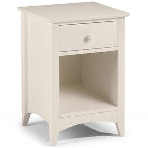 This white ivory bedside table has a clean classic look to suit a wide range of styles with drawer & open cupboard
