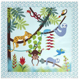 This waterproof splash mat at 120 x 120cm features super cute jungle animals to amuse and delight your tot.