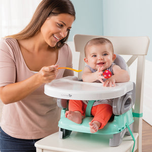 This super cute booster seat can be a high chair for use with or without the tray and baby can join the family at dinner time