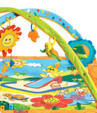 Colourful play mat with two collapsible arches and a musical toy