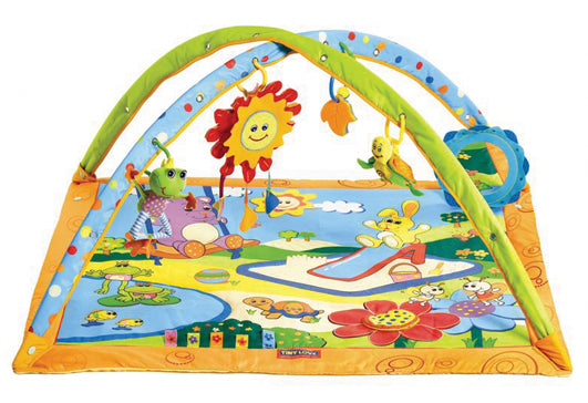 The 'Summery Sunshine' is a play mat with drop-down arches that provide different play modes