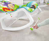 Stationary seat position on this multi use Fisher Price baby rocker with kick stand to secure.