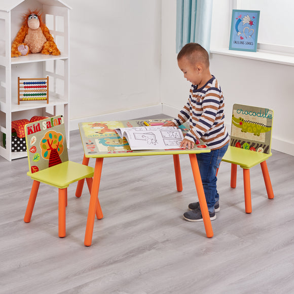 This colourful safari and jungle themed kids table and 2 chairs set is easy to assemble and ideal for ages of 3+.