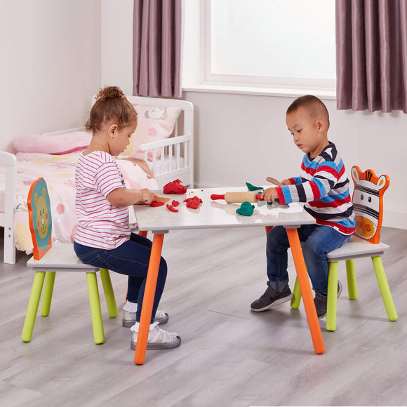 Take a walk on the wild side and make some friends along the way with our cute Bear and Zebra designed table and chair set