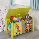 This large wooden toy box is perfect for any animal loving tot