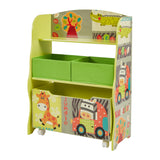 Kids | Childrens Wooden Safari | Jungle Toy Storage Box with Storage Fabric Bins