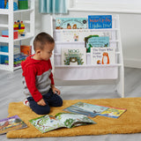 Freestanding white kids bookcase at toddler height - ideal storage for your tot's favourite books and bits and pieces.